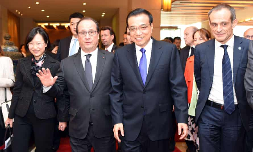 Chinese premier Li Keqiang, second from right, and French president François Hollande, second from left, in Beijing.