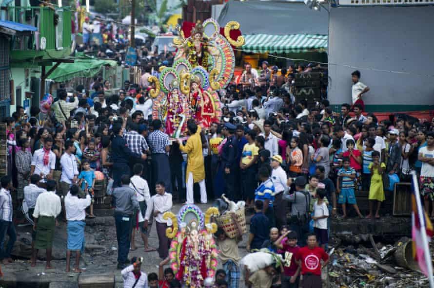 Hindu devotees take part in Durga Puja festivities in Yangon.