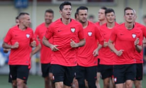 Robert Lewandowski trains with his Poland team-mates at the Sputnik-Sport Stadium in Sochi, Russia, ahead of their first World Cup game.