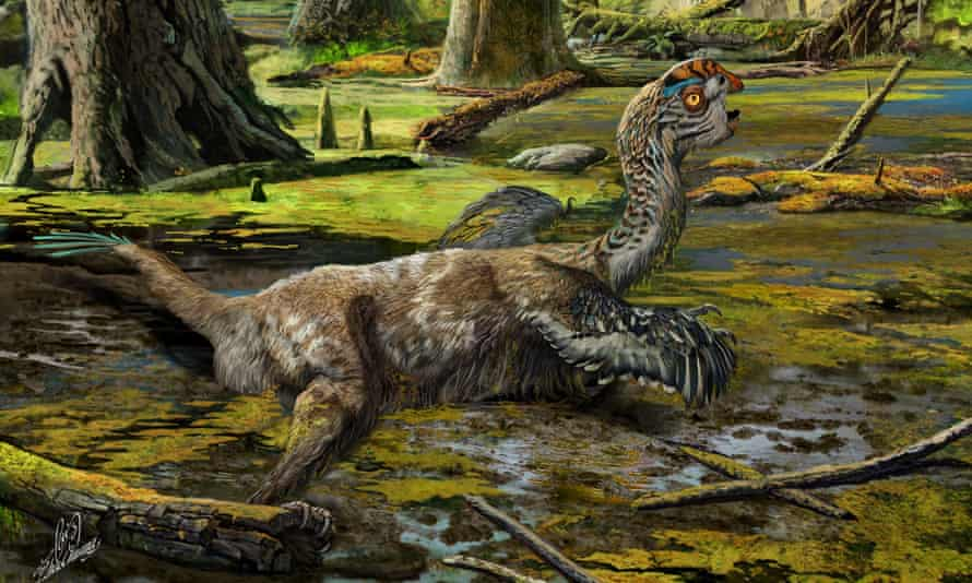 An artistic reconstruction, showing the last-ditch struggle of Tongtianlong limosus as it was mired in mud, interpretation for how the specimen was killed and buried.