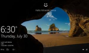 The new Windows 10 'hello' screen.