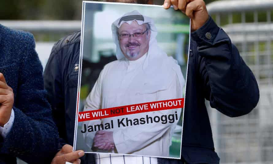 A demonstrator holds picture of Jamal Khashoggi during a protest in front of Saudi Arabia's consulate in Istanbul.