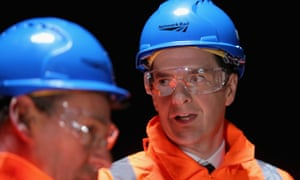 George Osborne (right) during a visit to Farnworth Tunnel electrification works in Bolton