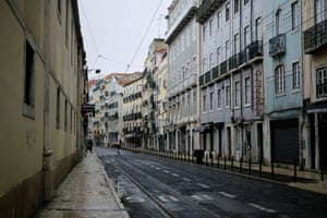 View of a nearly empty street near Cais do Sodre during the national lockdown, amid the coronavirus pandemic, in Lisbon, Portugal, on 23 January, 2021.