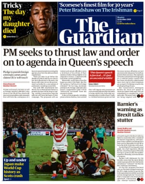 Guardian front page, Monday 14 October 2019