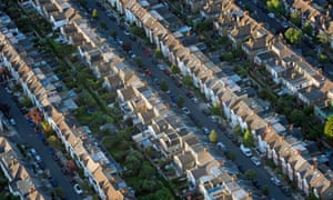 An aerial view of terraced houses in south-west London.