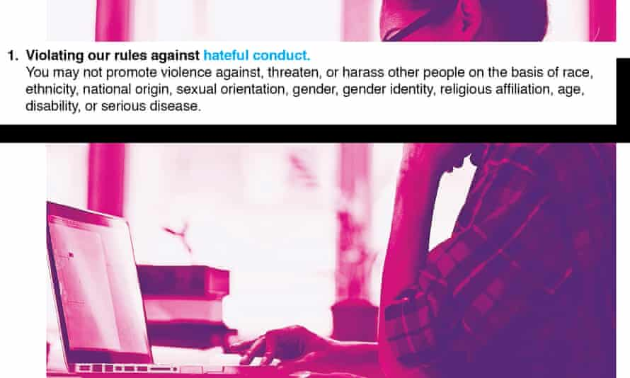a woman looking at a laptop with a definition for 'hateful conduct' superimposed over the image