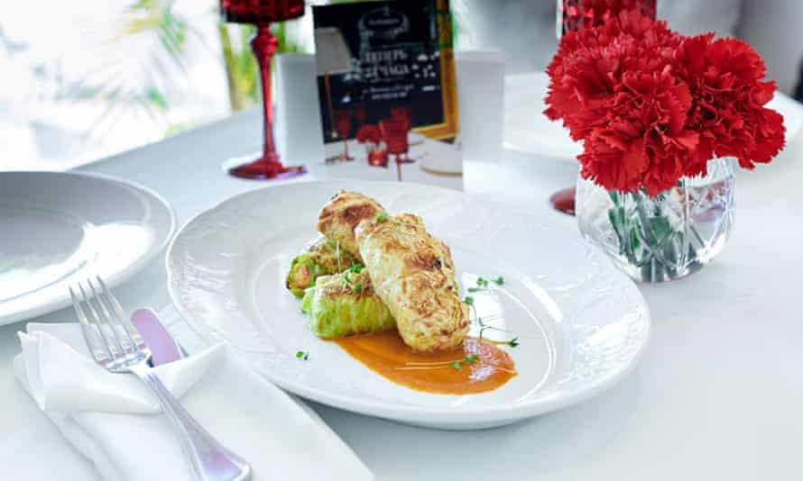 Cabbage leaves stuffed with crayfish tails at Zhivago