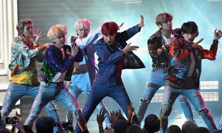 BTS performing at the 2017 American Music Awards in Los Angeles.