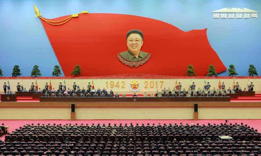 Kim Jong-un, centre, at a celebration of the 75th anniversary of the birth of his father Kim Jong-il, last week, shortly after his half-brother's death.
