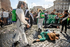 Students in Rome play out a protest