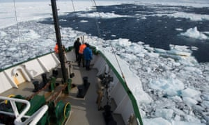 The Greenpeace ship Arctic Sunrise making its way through icy seas.