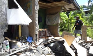 A damaged home in the Solomon Islands.