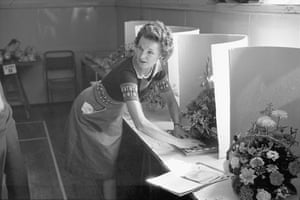 Woman judging flower arrangements at the Conservative party flower show, Hatherleigh, August 1976