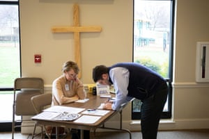 A potential voter checks in at Carmel Presbyterian Church during the North Carolina primary on Super Tuesday in Charlotte, North Carolina on March 3, 2020.