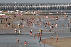 The beach is busy in Blankenberge, Belgium, today.