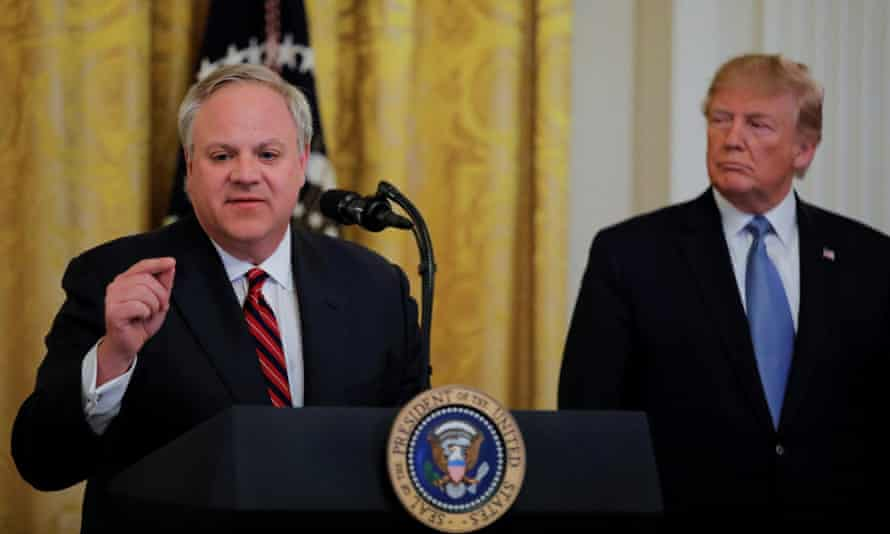 Trump with David Bernhardt, the former head of the interior department.