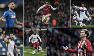 Clockwise: Napoli's Dries Mertens, Arsenal's Mesut Özil, Lyon's Nabil Fekir, Atlético Madrid's Antoine Griezmann, RB Leipzig's Naby Keïta and Milan's Leonardo Bonucci – just some of the stars involved in the Europa League's round of 32.