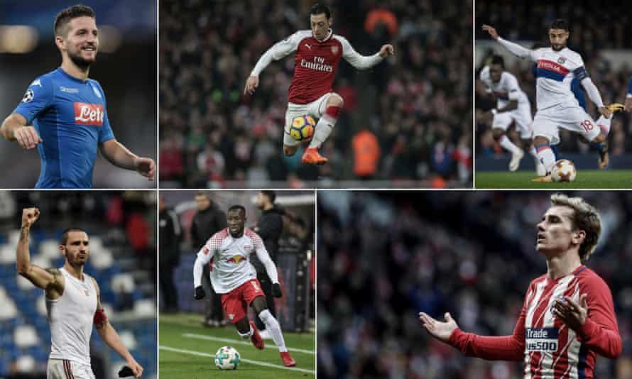 Clockwise: Napoli's Dries Mertens, Arsenal's Mesut Özil, Lyon's Nabil Fekir, Atlético Madrid's Antoine Griezmann, RB Leipzig's Naby Keïta and Milan's Leonardo Bonucci – just some of the stars involved in the Europa League's round of 32.