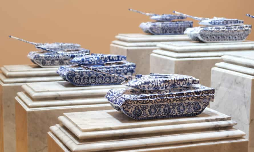 Wasinburee Supanichvoraparch's porcelain tanks at the Bangkok Biennale.