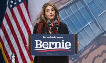 Naomi Klein speaking at a Bernie Sanders event, 2019