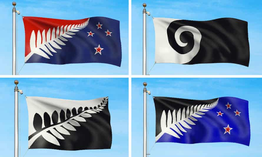 The four designs in the running to be the new flag for New Zealand.
