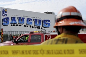 First responders at Saugus high school, where at least two students were killed on Thursday.