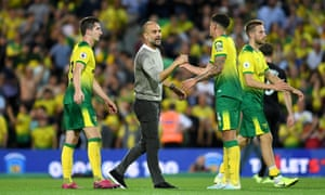 Manchester City manager Pep Guardiola congratulates the Canaries on their victory.