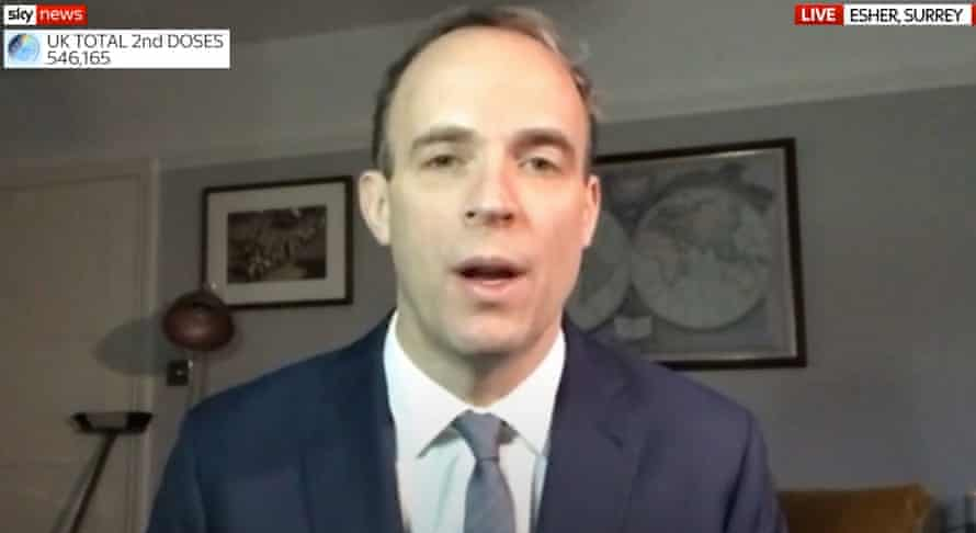 Dominic Raab on Sky News with a broom in the background