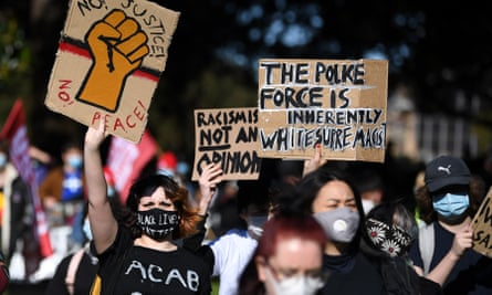 Black Lives Matter protesters in Sydney in early July