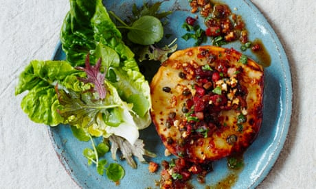 Thomasina Miers' celeriac steaks with sherry, lardons and capers