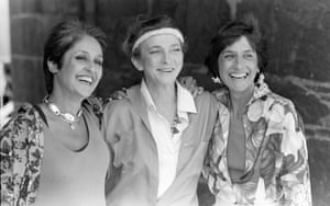 Baez, Judy Collins and Baez's sister, folk singer Mimi Farina, at the Newport folk festival in 1984.