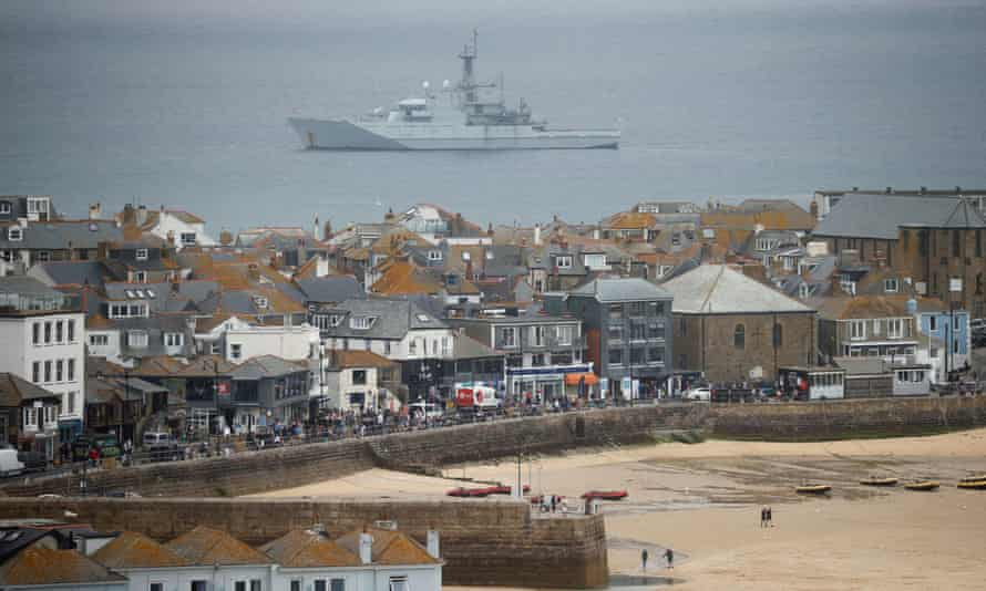 A Royal Navy ship is pictured near St Ives, as security preparations are under way for the G7 leaders summit, in Cornwall.