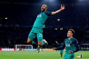 Lucas Moura celebrates his winning goal against Ajax