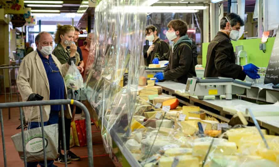 A cheese counter at a covered market in Le Perreux-sur-Marne, France