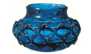 One of a matching pair of rare blue glass decorated beakers found intact in an Anglo-Saxon Christian burial chamber at Prittlewell in Southend-on-Sea.