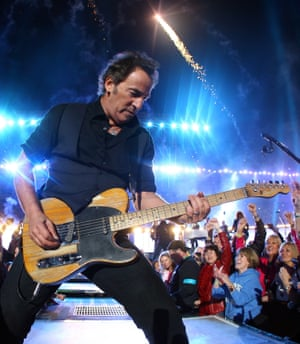 A rock Charlemagne … Bruce Springsteen plays the 2009 Super Bowl.