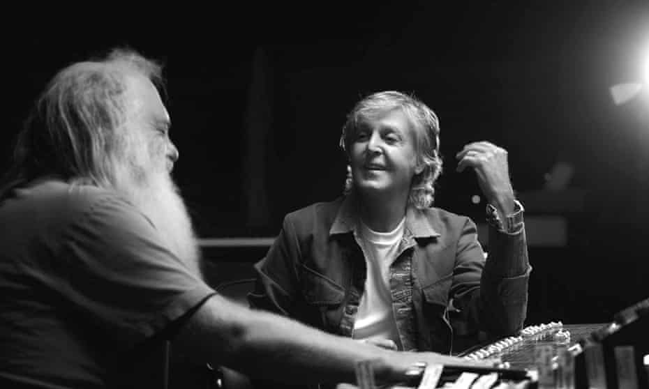 Rick Rubin and Paul McCartney in the studio talking about the music for the series McCartney 3,2,1.