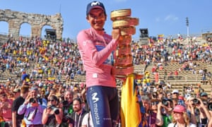 Last year's Giro d'Italia winner, Richard Carapaz of Movistar Team, with the trophy. This year's edition has been postponed with no clarity on a revised date.