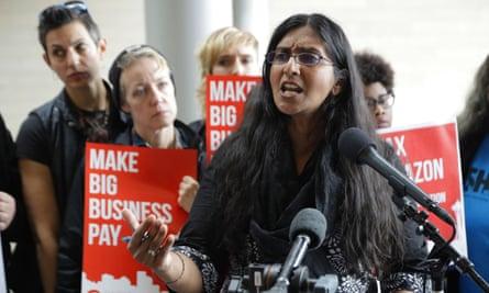 Kshama Sawant speaks at City Hall in Seattle.