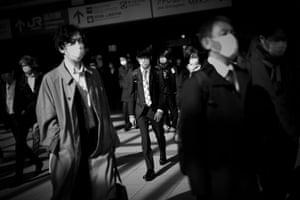 Commuters at Shinagawa train station