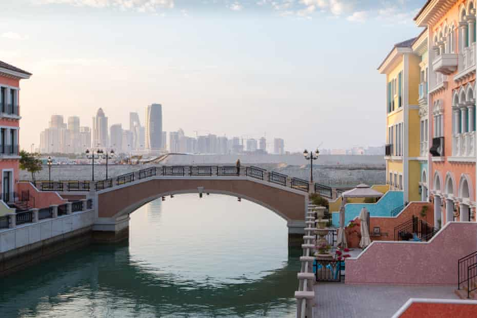 A view of Lusail City from a Venetian development on an artificial island called the Pearl.