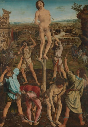 The Martyrdom of Saint Sebastian, completed in 1475, by Antonio and Piero del Pollaiuolo