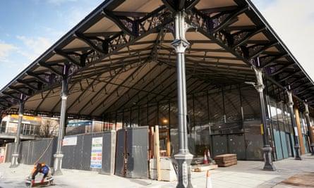 The market hall in Preston undergoing renovation.