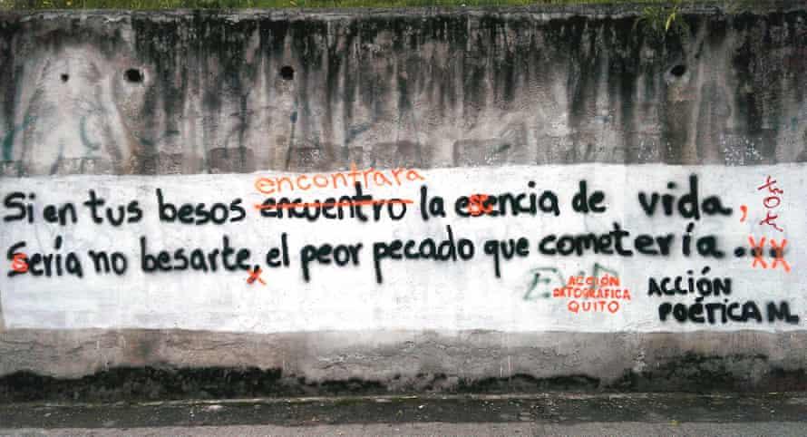 Acción Ortográfica correct graffiti in Quito