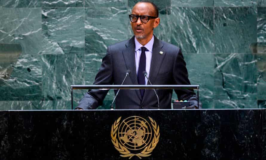 Paul Kagame speaking at the United Nations general assembly