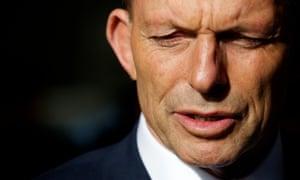 Tony Abbott at a press conference at Beaver Tree Services depot in Kelmscott, Perth, Western Australia on Saturday.