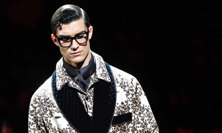 Dolce & Gabbana model at Milan Menswear Fashion Week AW19/20.