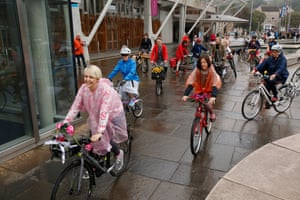 Celebrating World Car Free Day the Fancy Women Bike Ride started outside the Scottish Parliament
