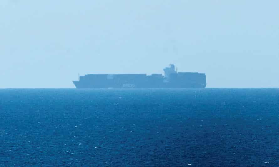The Elbeik anchored off Menorca